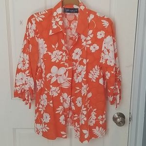 Textured Hawaiian Print Shirt